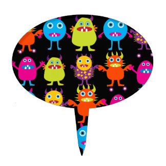 Funny Colorful Monster Party Creatures Characters Cake Topper