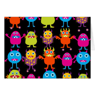 Funny Colorful Monster Party Creatures Characters Card