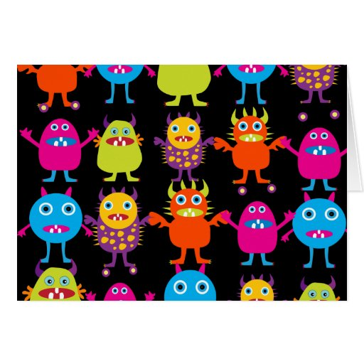Funny Colorful Monster Party Creatures Characters Cards