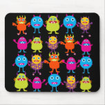 Funny Colorful Monster Party Creatures Characters Mouse Pad
