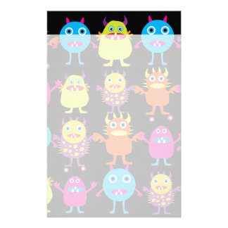 Funny Colorful Monster Party Creatures Characters Stationery