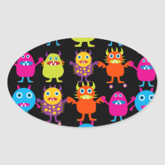 Funny Colorful Monster Party Creatures Characters Oval Stickers
