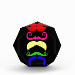 Funny Colorful Mustaches Pink Yellow Blue Green Awards