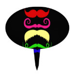 Funny Colorful Mustaches Pink Yellow Blue Green Cake Pick