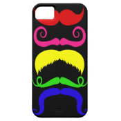Funny Colorful Mustaches Pink Yellow Blue Green iPhone 5 Case