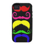 Funny Colorful Mustaches Pink Yellow Blue Green iPhone 4 Cover
