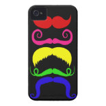 Funny Colorful Mustaches Pink Yellow Blue Green iPhone 4 Cases