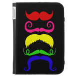 Funny Colorful Mustaches Pink Yellow Blue Green Kindle Cases
