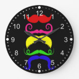 Funny Colorful Mustaches Pink Yellow Blue Green Round Wall Clock