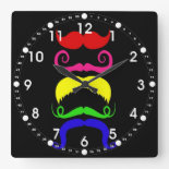 Funny Colorful Mustaches Pink Yellow Blue Green Wallclock