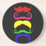 Funny Colorful Mustaches Pink Yellow Blue Green Beverage Coaster