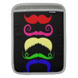 Funny Colorful Mustaches Pink Yellow Blue Green iPad Sleeves