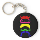 Funny Colorful Mustaches Pink Yellow Blue Green Key Chain