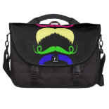 Funny Colorful Mustaches Pink Yellow Blue Green Laptop Bags