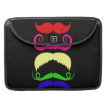 Funny Colorful Mustaches Pink Yellow Blue Green Sleeve For MacBooks