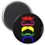 Funny Colorful Mustaches Pink Yellow Blue Green Fridge Magnet