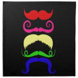 Funny Colorful Mustaches Pink Yellow Blue Green Printed Napkin