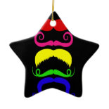 Funny Colorful Mustaches Pink Yellow Blue Green Christmas Tree Ornament