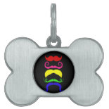 Funny Colorful Mustaches Pink Yellow Blue Green Pet Tags