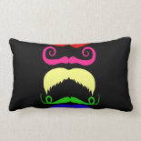 Funny Colorful Mustaches Pink Yellow Blue Green Throw Pillow