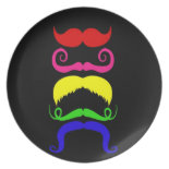 Funny Colorful Mustaches Pink Yellow Blue Green Dinner Plate