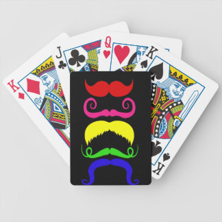 Funny Colorful Mustaches Pink Yellow Blue Green Deck Of Cards