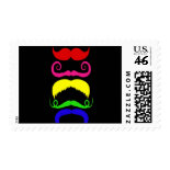Funny Colorful Mustaches Pink Yellow Blue Green Postage Stamps
