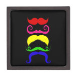 Funny Colorful Mustaches Pink Yellow Blue Green Premium Trinket Box