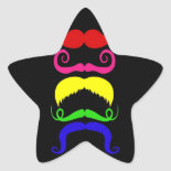 Funny Colorful Mustaches Pink Yellow Blue Green Stickers