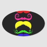 Funny Colorful Mustaches Pink Yellow Blue Green Sticker