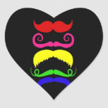 Funny Colorful Mustaches Pink Yellow Blue Green Heart Sticker