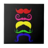 Funny Colorful Mustaches Pink Yellow Blue Green Tile