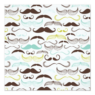Funny Colorful Pattern for Mustache Lovers 5.25x5.25 Square Paper Invitation Card