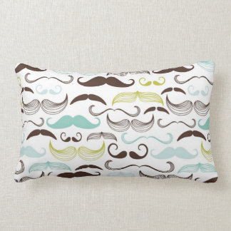Funny Colorful Pattern for Mustache Lovers Throw Pillow