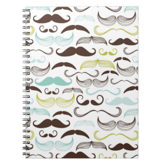 Funny Colorful Pattern for Mustache Lovers Spiral Note Book