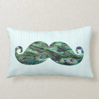 Funny  Colorful Peacock Feathers Mustache Lumbar Pillow