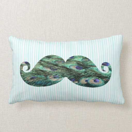 Funny  Colorful Peacock Feathers Mustache Throw Pillows