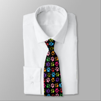 Funny Colorful pet dog or cat paw prints on black Neck Tie