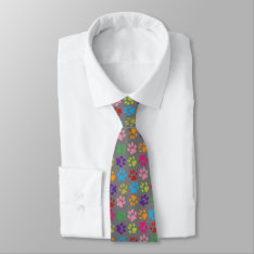 Funny Colorful Pet Dog Or Cat Paw Prints On Gray Tie at Zazzle