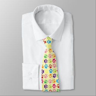 Funny Colorful pet dog or cat paw prints on yellow Neck Tie
