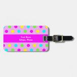 Funny Colorful Polka Dots - Address Luggage Tag