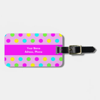 Funny Colorful Polka Dots - Address Luggage Tag
