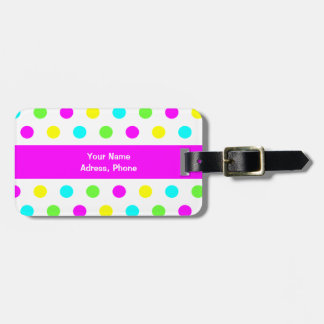 Funny Colorful Polka Dots - Adress Luggage Tag