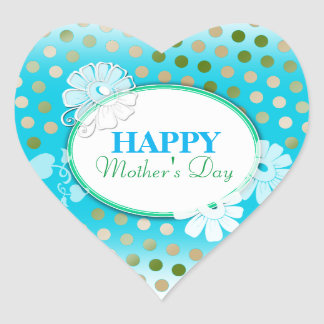Funny Colorful Polka Dots for Mother's Day Heart Sticker