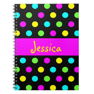 Funny Colorful Polka Dots - Girly Name Notebook