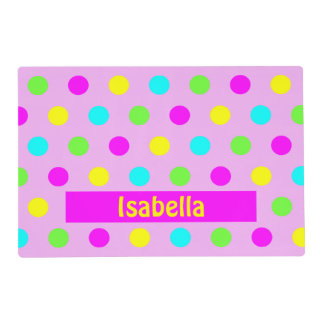 Funny Colorful Polka Dots - Girly Name Placemat Laminated Placemat