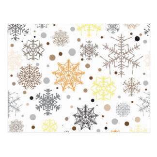 Funny Colorful Snowflakes Pattern Postcard
