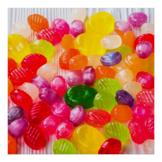 Funny Colorful Sweet Candies Food Lollipop Picture Poster