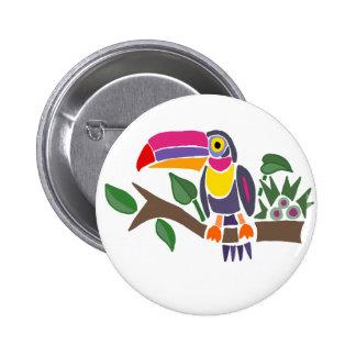 Funny Colorful Toucan Bird Abstract Art Pinback Button