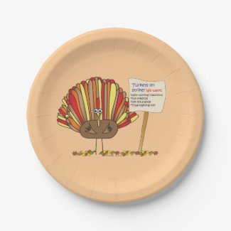 Funny, Colorful, Turkey Cartoon| Add Your Message Paper Plate